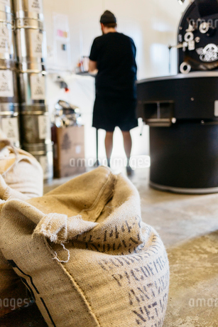 Coffee sacks in a coffee roasting business in Swedenの写真素材 [FYI02211490]