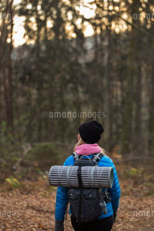 Rear view of woman hiking through forest in Lerum, Swedenの写真素材 [FYI02211585]