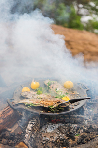 Food cooking on a campfireの写真素材 [FYI02211702]
