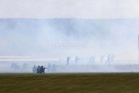 Military exercise with smoke in Malmslatt, Swedenの写真素材 [FYI02211721]