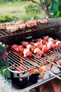 Meat and skewers on a barbeque grillの写真素材 [FYI02211788]