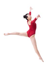 Female gymnast performing rhythmic gymnasticsの写真素材 [FYI02212060]