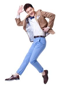 Trendy businessman dancingの写真素材 [FYI02212326]