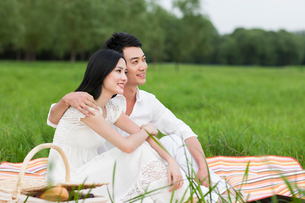 Cheerful young couple having a picnic on the grassの写真素材 [FYI02213223]