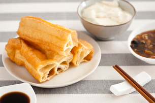 Chinese food youtiao and tofu jellyの写真素材 [FYI02213674]