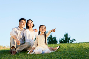 Cheerful young family sitting on the lawn in a parkの写真素材 [FYI02213725]