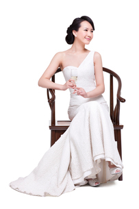 Young beautiful woman with champagne fluteの写真素材 [FYI02213851]