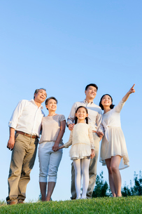 Cheerful young family looking at view in a parkの写真素材 [FYI02214163]