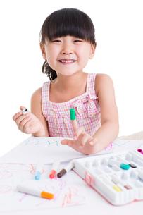 Cute girl drawingの写真素材 [FYI02214323]