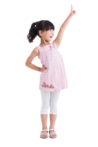 Cute little girl pointing upの写真素材 [FYI02214326]
