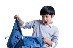 Cute schoolboy opening book bag with surpriseの写真素材 [FYI02214412]