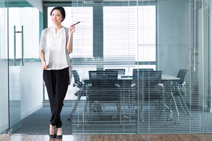Young businesswoman with laptop in the officeの写真素材 [FYI02214472]