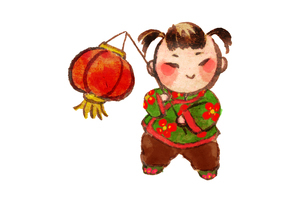 Cute girl with red lantern greeting for Chinese New Yearのイラスト素材 [FYI02214909]