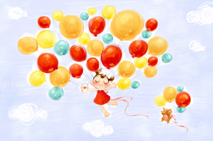 Little girl and puppy flying in the sky with balloonsのイラスト素材 [FYI02215053]