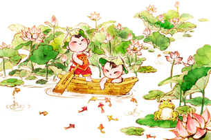 Cute children rowing a boat in lotus pondのイラスト素材 [FYI02215068]
