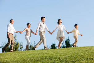 Big family holding hands in a row in a parkの写真素材 [FYI02215490]