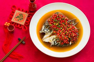 Chinese cuisine chili fish headの写真素材 [FYI02215542]
