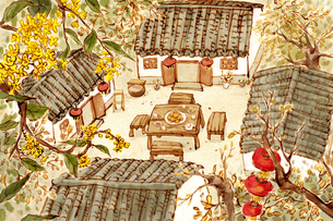 Chinese traditional building siheyuanのイラスト素材 [FYI02215856]