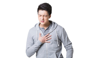 Young man with chest painの写真素材 [FYI02215940]