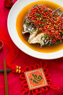 Chinese cuisine chili fish headの写真素材 [FYI02216351]