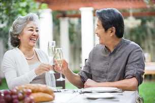 Senior couple celebrating with champagneの写真素材 [FYI02216380]