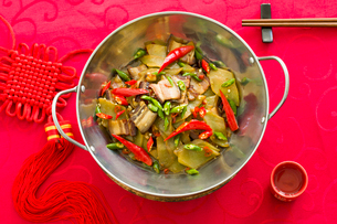 Chinese cuisine cured meat with asparagusの写真素材 [FYI02216412]