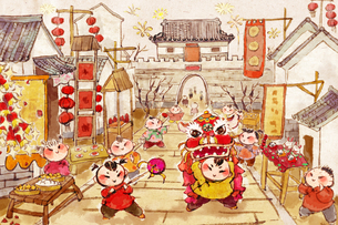 Cheerful people celebrating Chinese New Year in streetのイラスト素材 [FYI02216590]