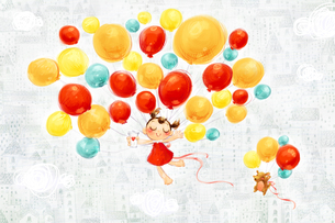 Little girl and puppy flying in the sky with balloonsのイラスト素材 [FYI02217072]