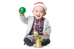 Cute baby with Christmas decorationの写真素材 [FYI02217619]