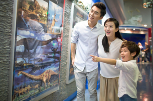 Young family in museum of natural historyの写真素材 [FYI02218232]