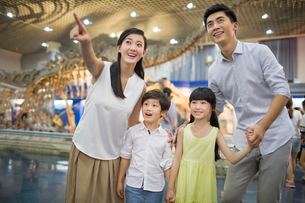 Young family in museum of natural historyの写真素材 [FYI02219235]