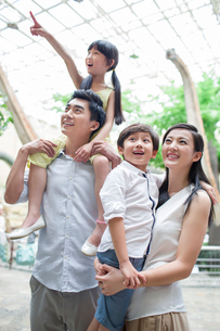 Young family in museum of natural historyの写真素材 [FYI02219362]