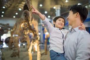 Young father and son in museum of natural historyの写真素材 [FYI02219506]