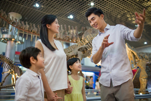 Young family in museum of natural historyの写真素材 [FYI02219801]
