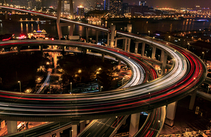 Shanghai cityscape at night,Chinaの写真素材 [FYI02224065]
