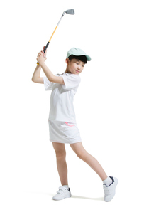 Cute girl playing golfの写真素材 [FYI02224216]