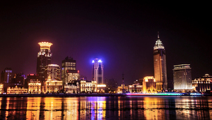 Shanghai cityscape at night,Chinaの写真素材 [FYI02224922]