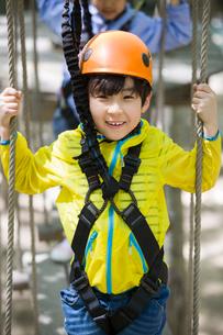 Little boy playing in tree top adventure parkの写真素材 [FYI02225233]