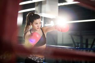 Female boxer practicing in boxing ringの写真素材 [FYI02225444]