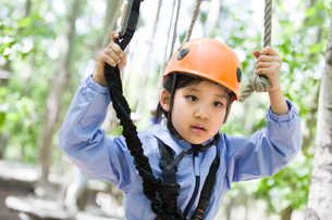 Little girl playing in tree top adventure parkの写真素材 [FYI02225598]