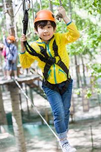 Happy children playing in tree top adventure parkの写真素材 [FYI02225741]