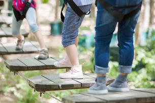 Happy children playing in tree top adventure parkの写真素材 [FYI02225755]