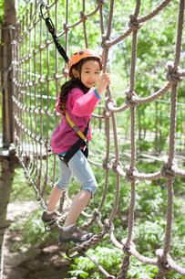 Little girl playing in tree top adventure parkの写真素材 [FYI02226032]