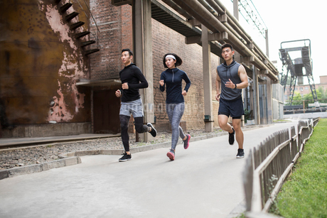 Young Chinese friends jogging outdoorsの写真素材 [FYI02226168]