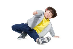 Cute boy break dancingの写真素材 [FYI02226182]