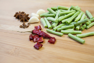 Bush bean, garlic and chilliの写真素材 [FYI02226268]