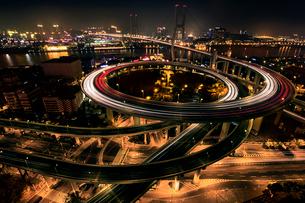 Shanghai cityscape at night,Chinaの写真素材 [FYI02226584]