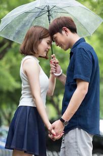 Young couple holding umbrellaの写真素材 [FYI02227580]