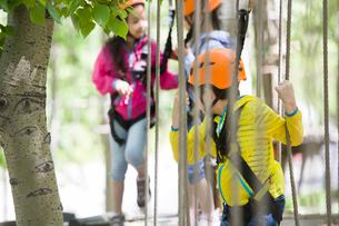 Happy children playing in tree top adventure parkの写真素材 [FYI02227753]