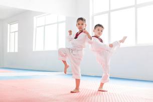 Little children practicing Tae Kwon Doの写真素材 [FYI02228604]
